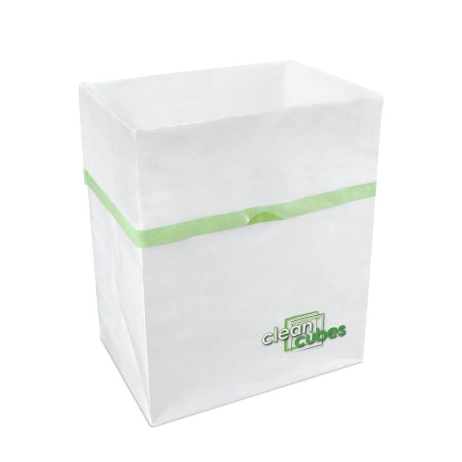 Clean Cubes 10-Gallon White with Green Trim Trash Can