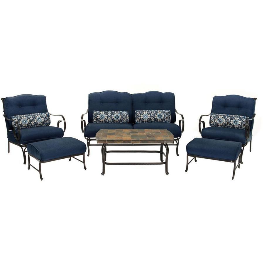 Hanover Outdoor Furniture Oceana 6-Piece Wrought Iron ...