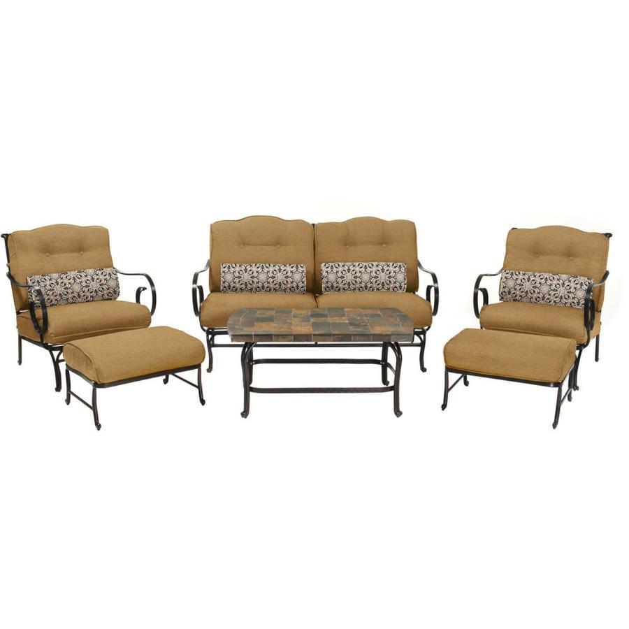 Shop Hanover Outdoor Furniture Oceana 6-Piece Wrought Iron Frame ...
