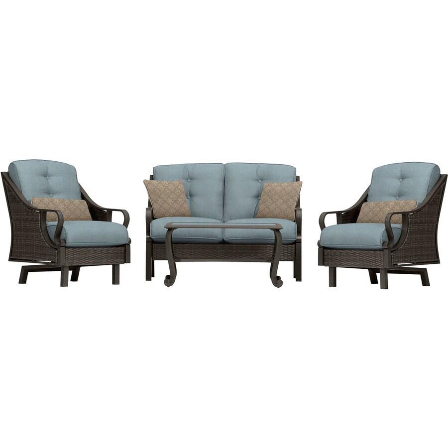 Hanover Outdoor Furniture Ventura 4 Piece Wicker Frame Patio Conversation  Set With Ocean Blue Cushions