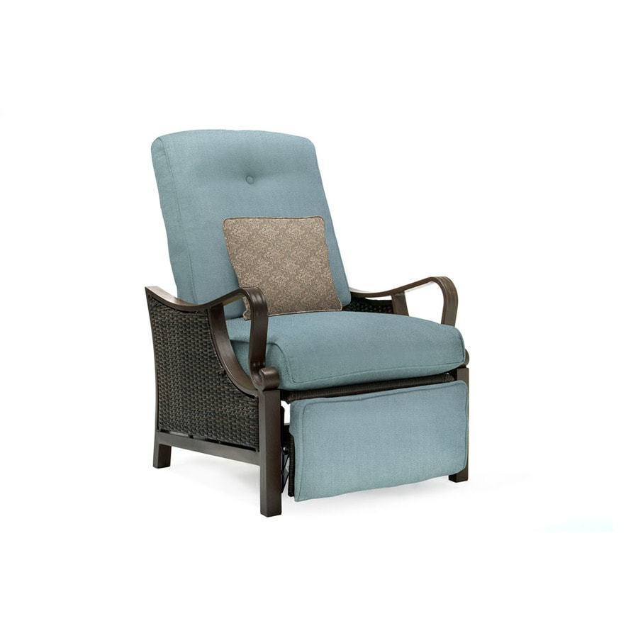Hanover Outdoor Furniture Ventura Wicker Recliner Chair With Ocean Blue  Cushion