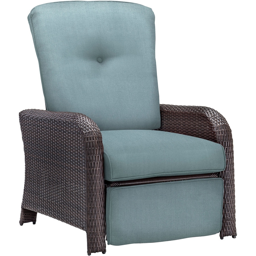 Hanover Outdoor Furniture Strathmere Wicker Recliner Chair With Ocean Blue  Cushion