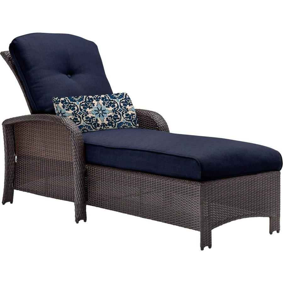Hanover Outdoor Furniture Strathmere Chaise Lounge Chair With Navy Blue Cushion