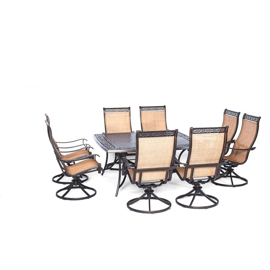 Hanover Outdoor Furniture Manor 9 Piece Bronze Metal Frame Patio Set