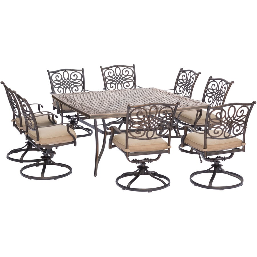 Outdoor Patio Furniture Aluminum Frame: Shop Hanover Outdoor Furniture Traditions 9-Piece Bronze