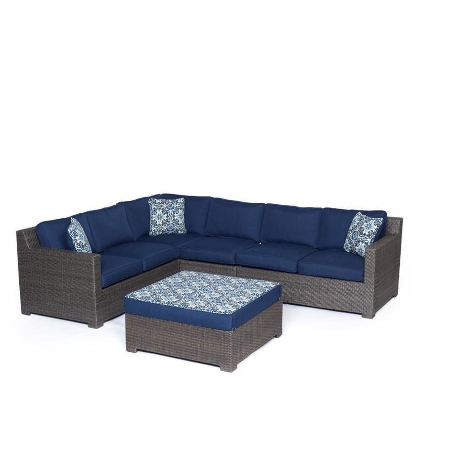 Hanover Outdoor Furniture Metropolitan 5 Piece Wicker Frame Patio Conversation Set With Navy Blue Cushions