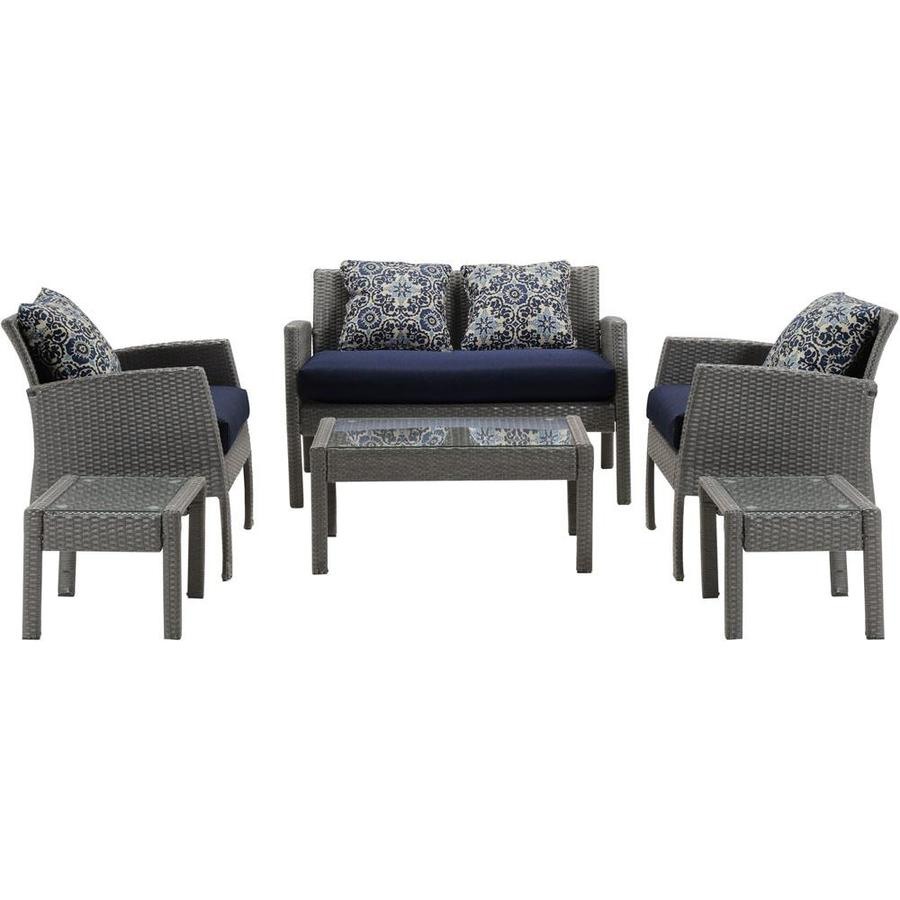 Hanover Outdoor Furniture Chelsea 6 Piece Wicker Frame Patio Conversation Set With Navy Blue Cushions