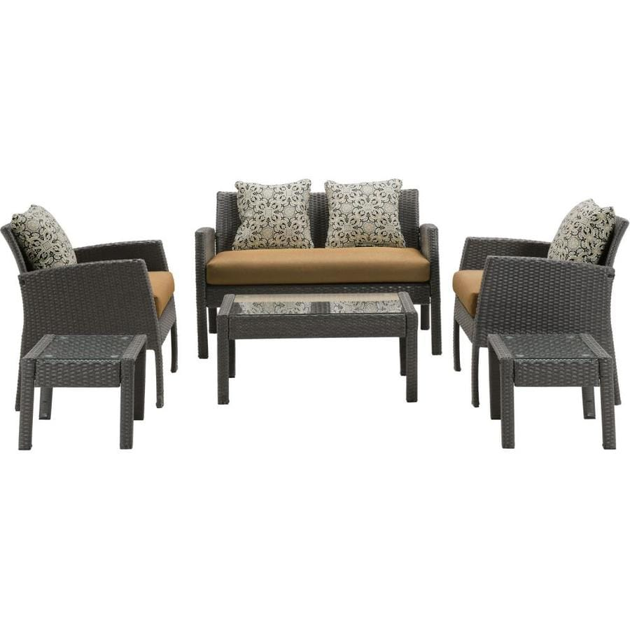 Shop Hanover Outdoor Furniture Chelsea 6-Piece Wicker Frame Patio ...