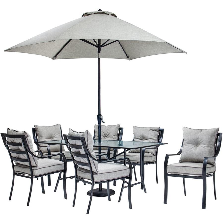 Silver Patio Furniture.Hanover Outdoor Furniture Lavallette 7 Piece Black Metal Frame Patio