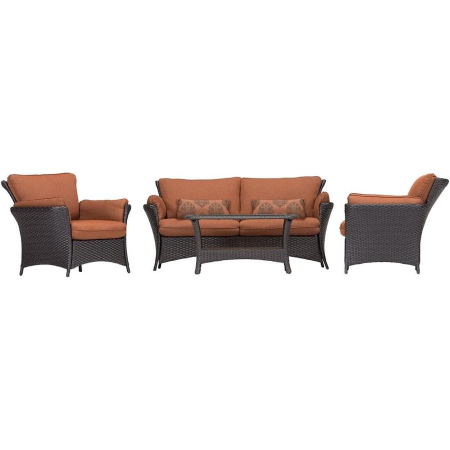 Hanover Outdoor Furniture Strathmere Allure 4 Piece Wicker Frame Patio Conversation Set With Woodland Rust Cushions