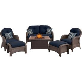 Hanover Newport 6 Piece Woven Seating Set In Navy Blue With Fire Pit Table