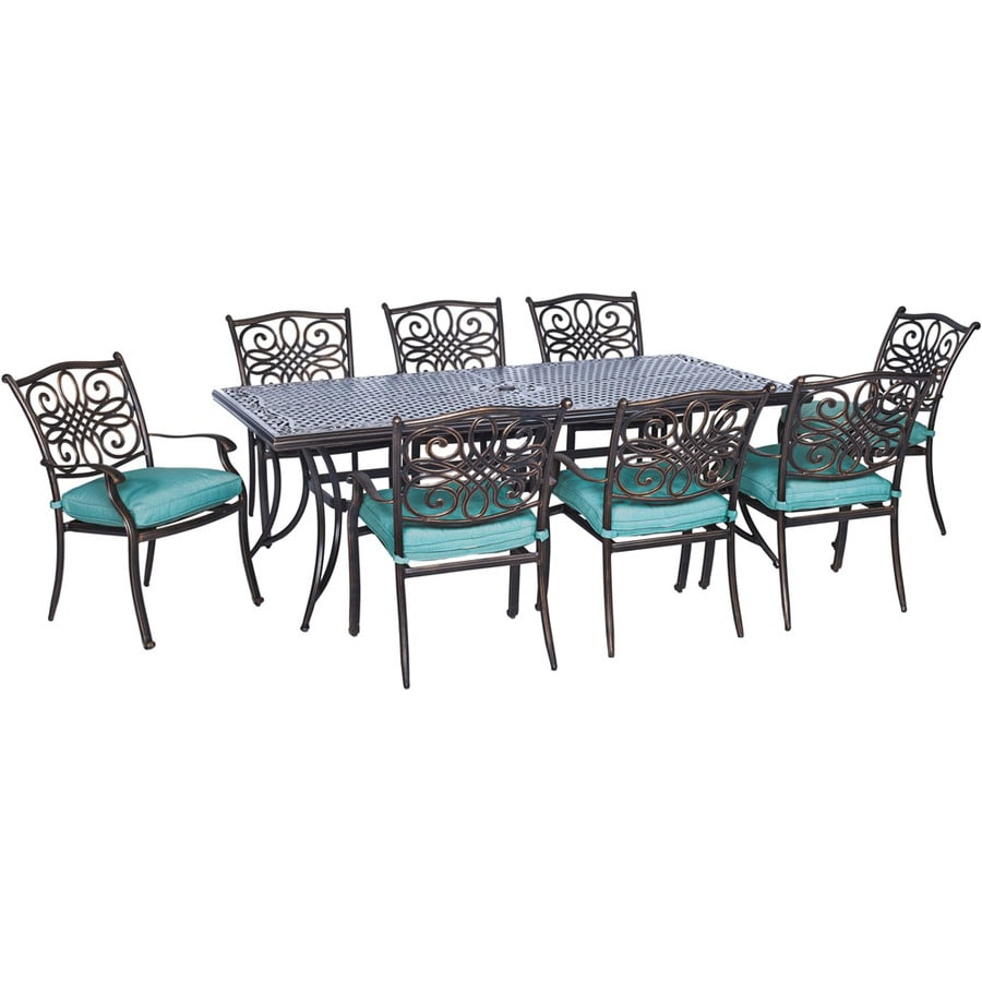 Hanover Outdoor Furniture Traditions 9 Piece Bronze Metal Frame Patio Set  With Blue Cushions