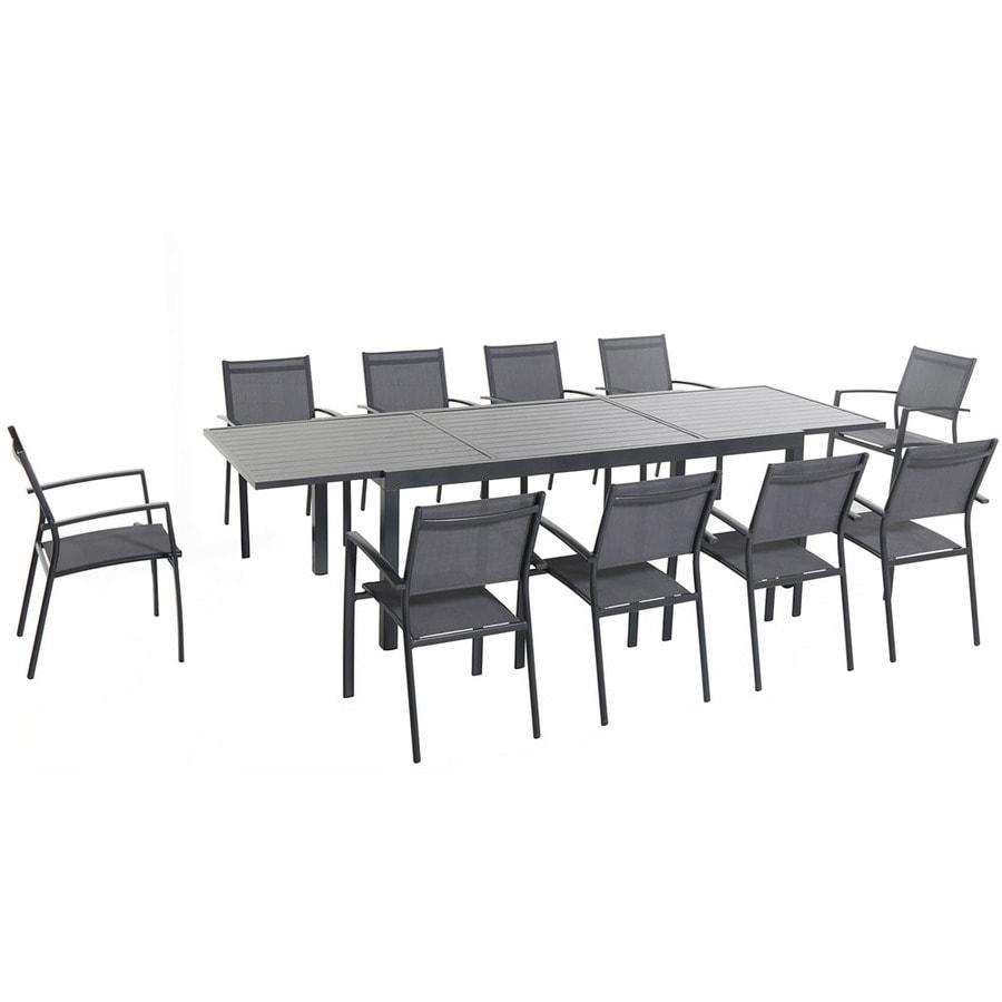 Hanover Outdoor Furniture Naples 11 Piece Gray Metal Frame Patio Set With  Gray Hanover
