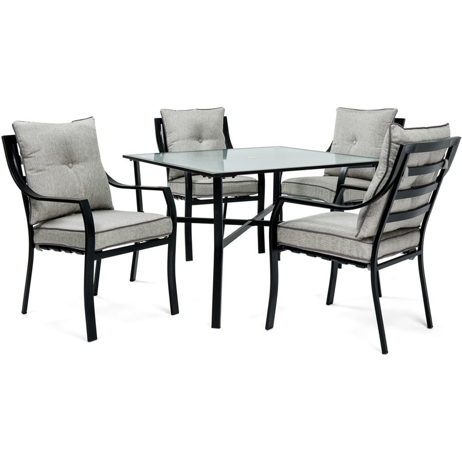 280d81eed34 Hanover Outdoor Furniture Lavallette 5-Piece Black Metal Frame Patio Set  with Silver Lining Cushions