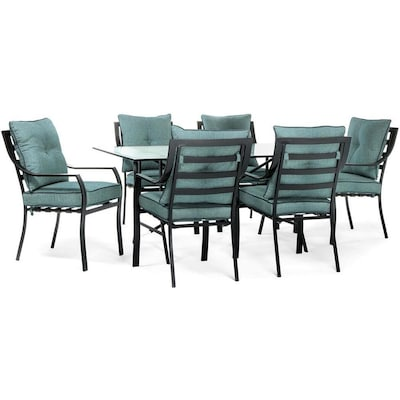 Lavallette 7 Piece Black Metal Frame Patio Set With Ocean Blue Hanover Cushions