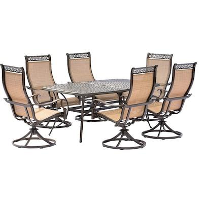Sensational Manor 7 Piece Bronze Metal Frame Patio Set With Tan Hanover Frankydiablos Diy Chair Ideas Frankydiabloscom