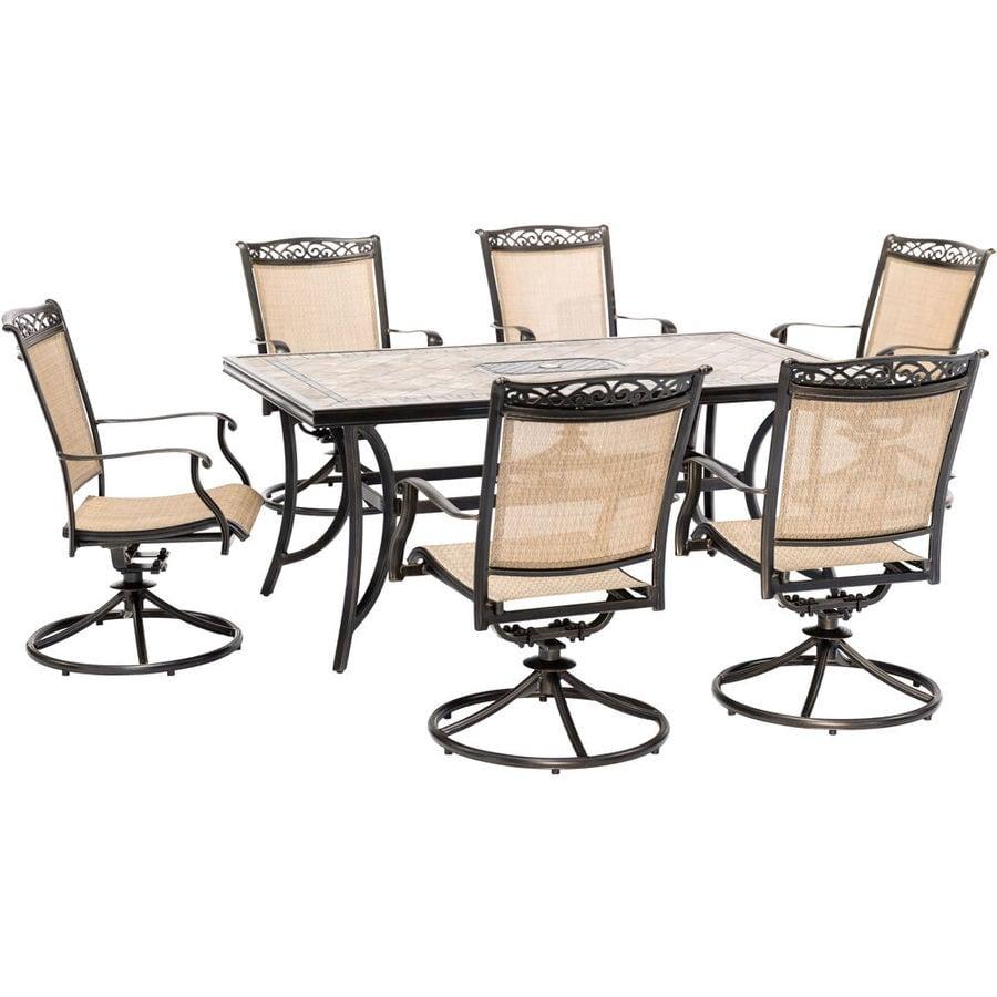 Outdoor Patio Furniture Aluminum Frame: Hanover Outdoor Furniture Fontana 7-Piece Bronze Metal