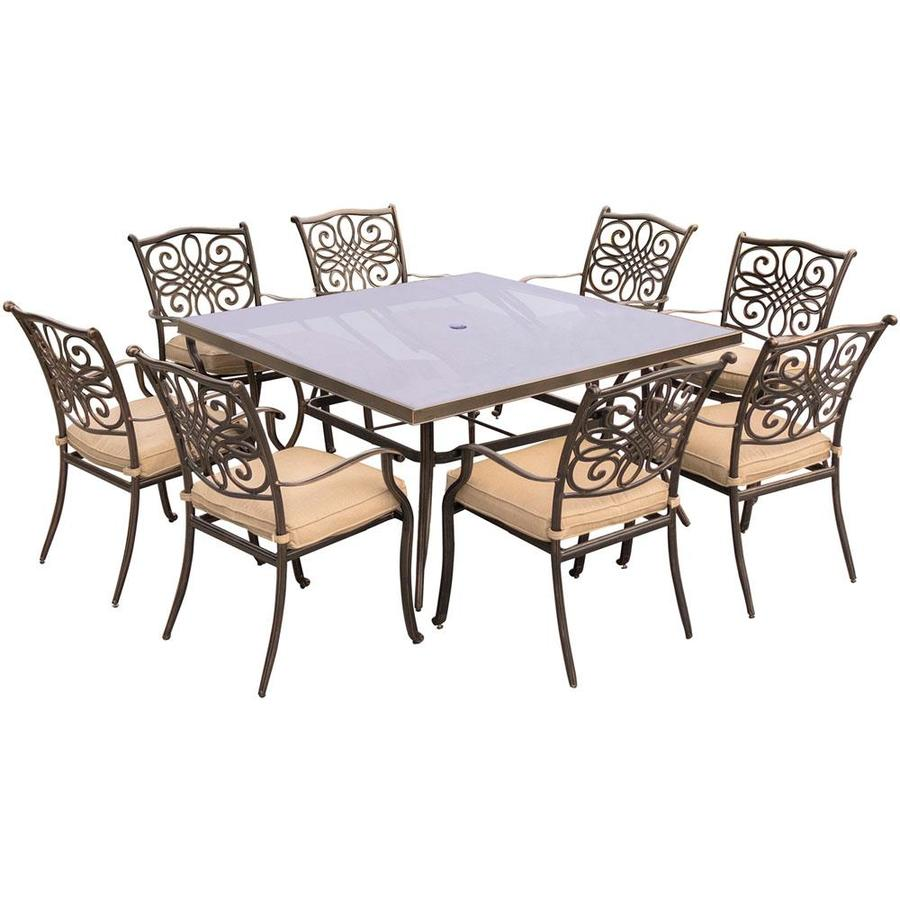 Hanover Traditions 9 Piece Dining Set In Tan With 60 In Square