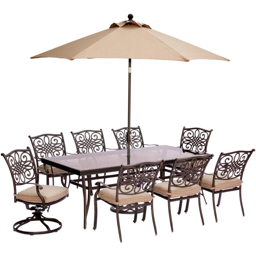Hanover Outdoor Furniture Traditions 9 Piece Bronze Metal Frame Patio Set With Natural Oat Cushions