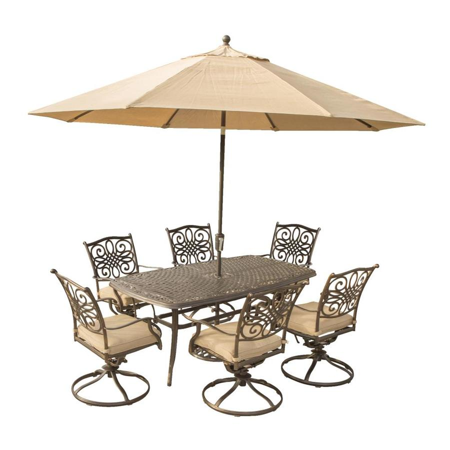 Hanover Outdoor Furniture Traditions 7 Pc. Outdoor Dining Set Of Four  Dining Chairs, Two