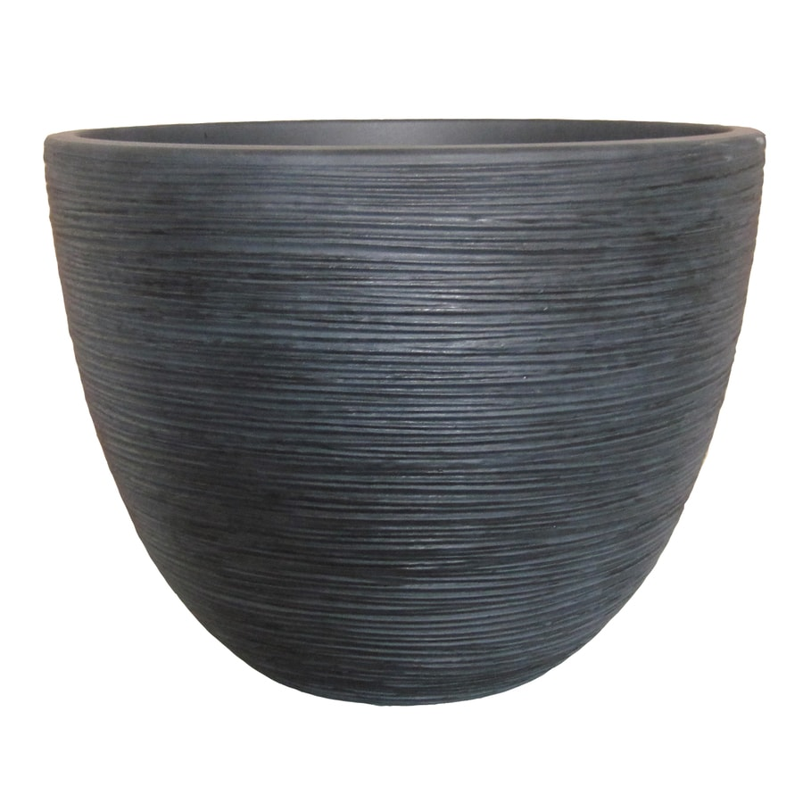 allen + roth 15.75-in x 11.81-in Blackwash Resin Shell Planter