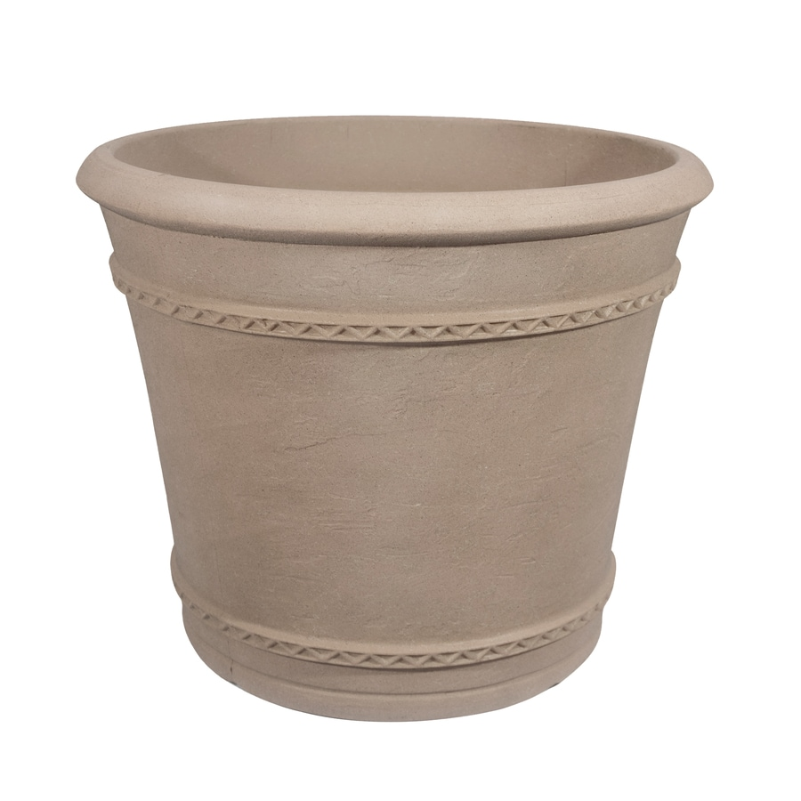 Grosfillex 23.1-in x 19.13-in Pietra Resin Round Planter