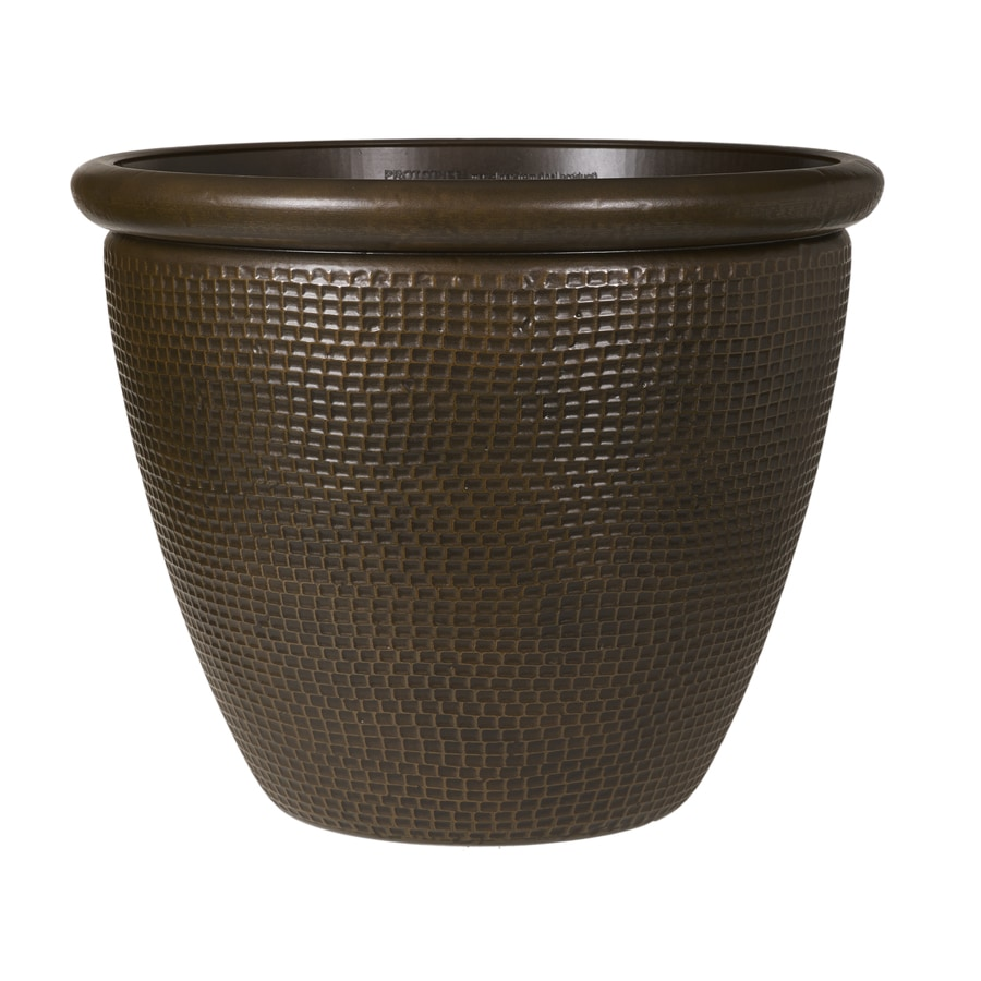 Grosfillex 22.44-in x 18.31-in Bronze Resin Cerritos Planter