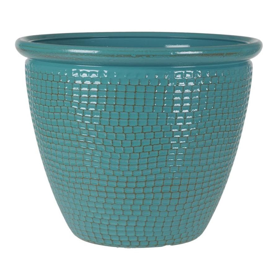 Grosfillex 15.04-in x 12.13-in Azure Patina Resin Cerritos Planter