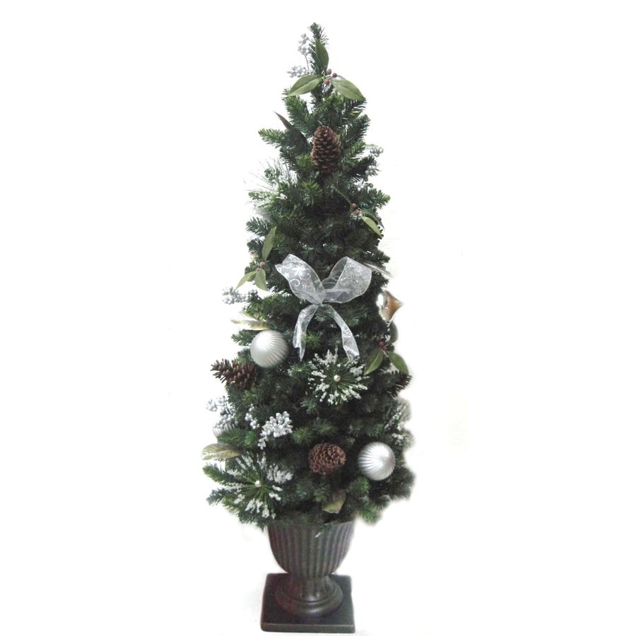 Allen + Roth 5-ft Pre-Lit Pine Artificial Christmas Tree