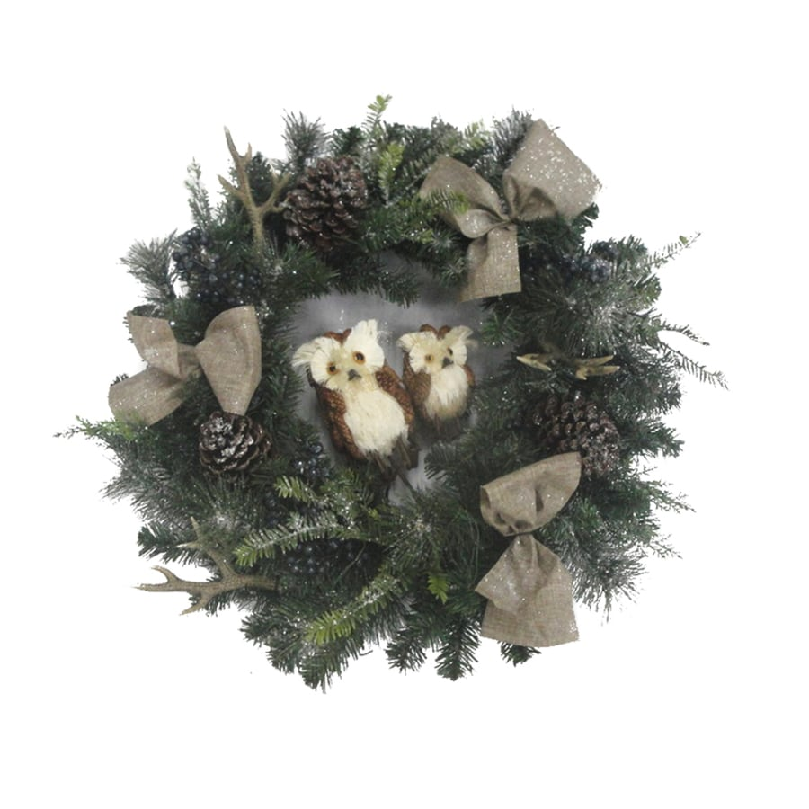 Holiday Living 30-in Pre-Lit Battery-Operated Green Ornament Artificial Christmas Wreath with White Clear LED Lights