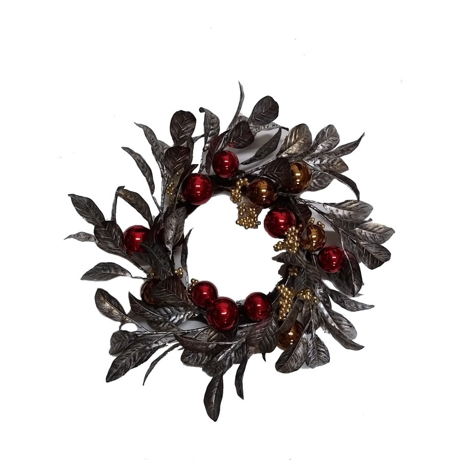 allen + roth 20-in Indoor Sliver leaf with red/bronze ornament Leaf Artificial Christmas Wreath