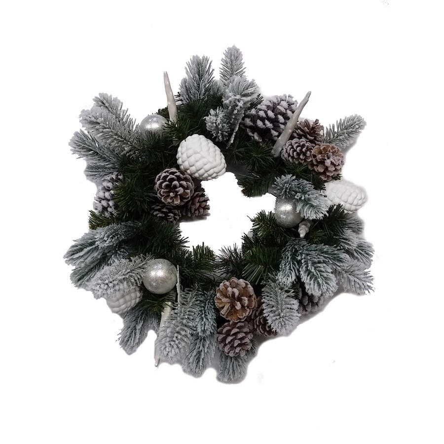 allen + roth 20-in Indoor Flocking pine with white/silver ornament Pine Artificial Christmas Wreath