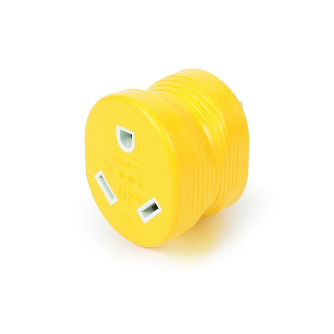 Camco 15 Amp 3 Wire Grounding Single To Single Yellow Basic Adapter In The Power Adapters Department At Lowes Com