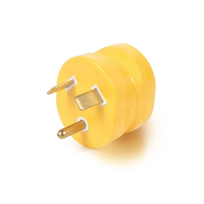 Camco 15 Amp 3 Wire Grounding Single To Single Yellow Basic Standard Adapter In The Adapters Splitters Department At Lowes Com