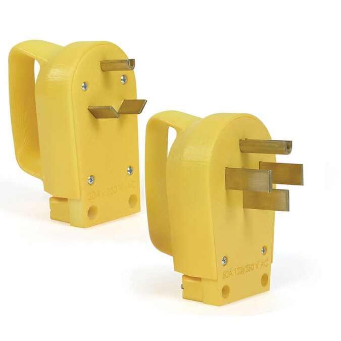 Camco 50 Amp 3 Wire Grounding Single To Single Yellow Basic Standard Adapter In The Adapters Splitters Department At Lowes Com