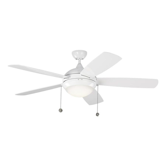 Monte Carlo Discus Outdoor 52 In White Led Indoor Outdoor Ceiling Fan 5 Blade In The Ceiling Fans Department At Lowes Com