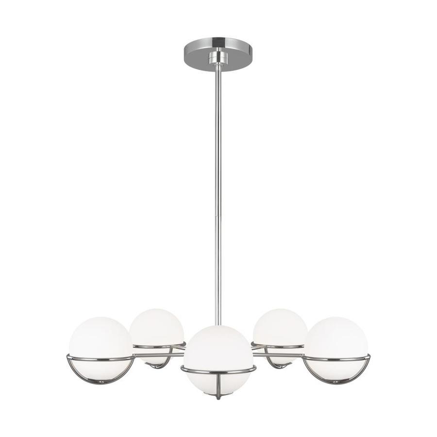 generation lighting designers ed ellen degeneres apollo 5 light polished nickel modern contemporary chandelier