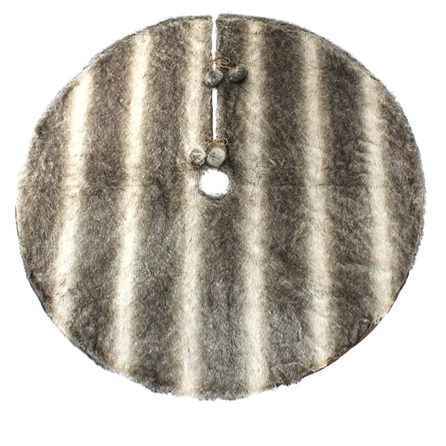 holiday living 56 in brown polyester fur christmas tree skirt - Fur Christmas Tree Skirt