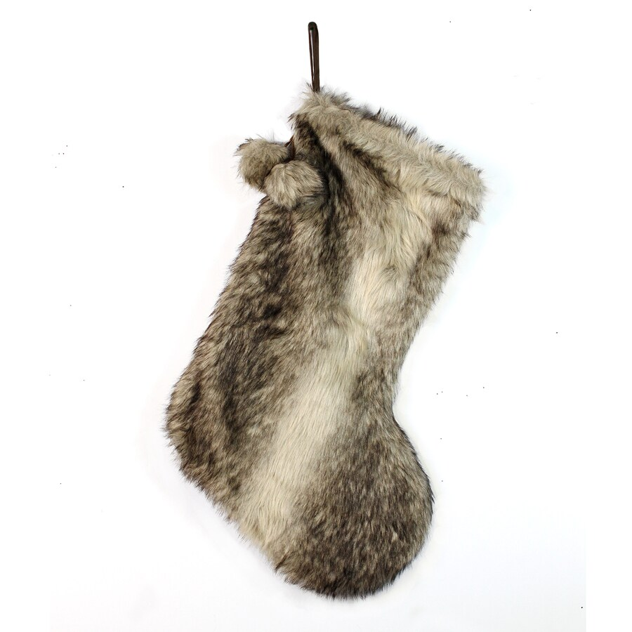 Holiday Living 21-in Brown Polyester Fur Christmas Stocking