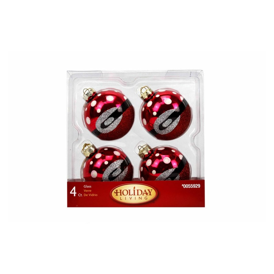 Red glass christmas ornaments - Holiday Living 4 Pack Red Glass Christmas Ornaments