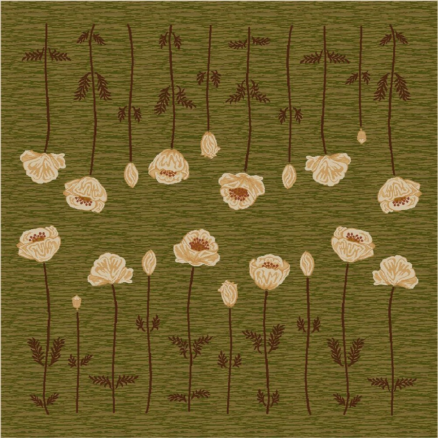 Milliken Poppy Square Green Transitional Tufted Area Rug (Common: 8-ft x 8-ft; Actual: 7.58-ft x 7.58-ft)