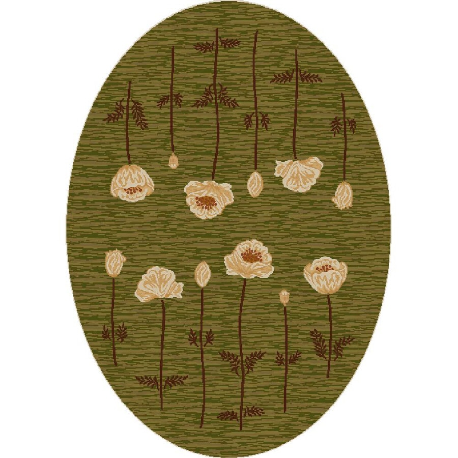 Milliken Poppy Oval Green Transitional Tufted Area Rug (Common: 4-ft x 6-ft; Actual: 3.83-ft x 5.33-ft)