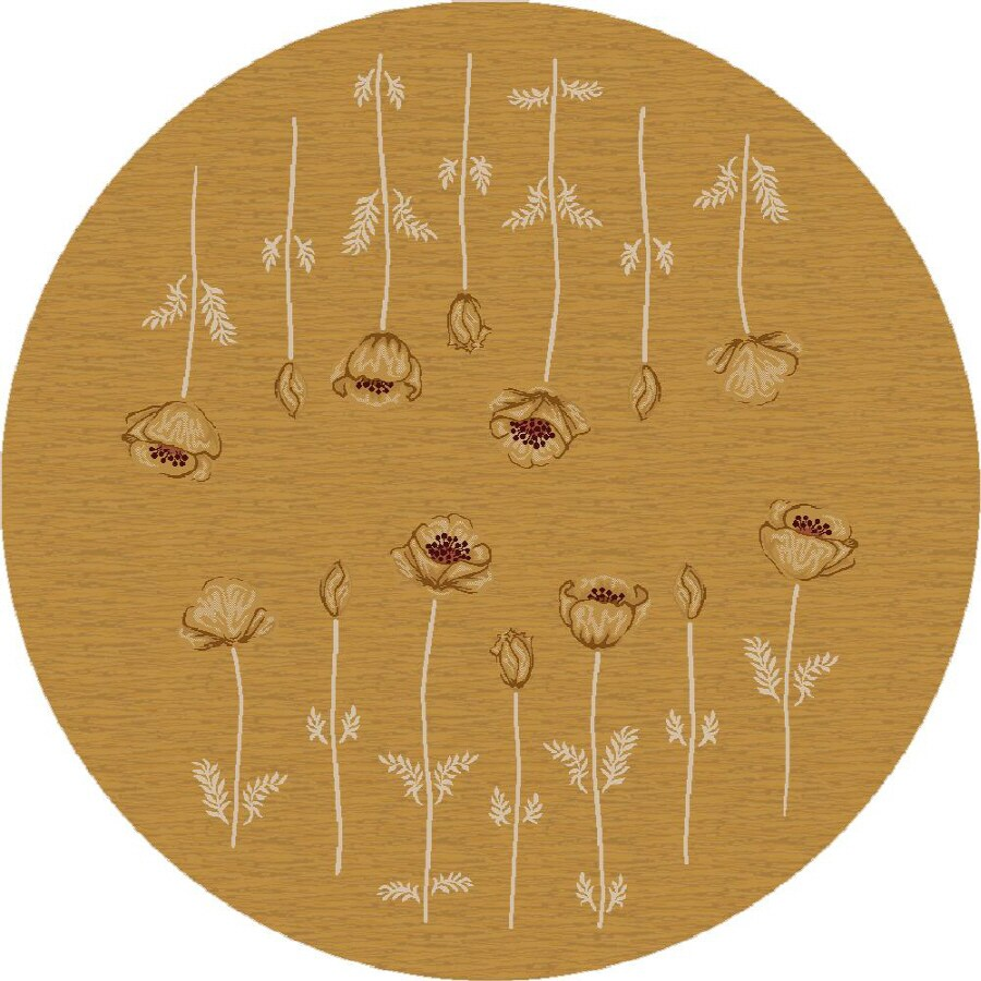 Milliken Poppy Round Cream Transitional Tufted Area Rug (Common: 8-ft x 8-ft; Actual: 7.58-ft x 7.58-ft)
