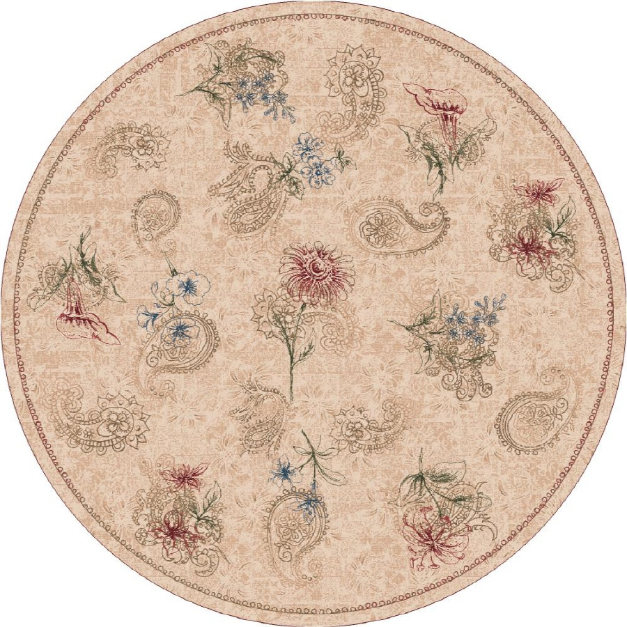Milliken Vintage Round Cream Transitional Tufted Area Rug (Common: 8-ft x 8-ft; Actual: 7.58-ft x 7.58-ft)