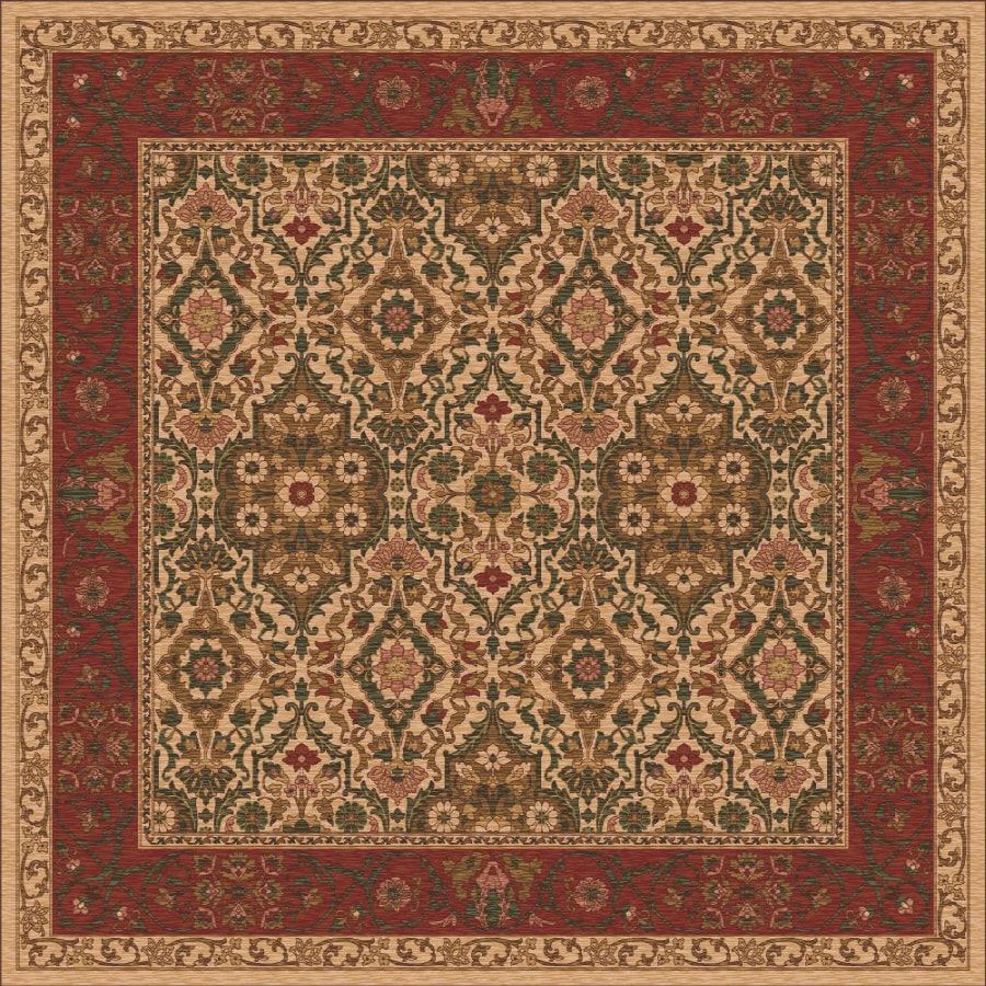 Milliken Sandakan Square Brown Transitional Tufted Area Rug (Common: 8-ft x 8-ft; Actual: 7.58-ft x 7.58-ft)