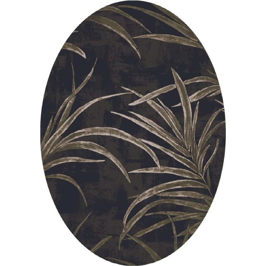 Milliken Rain Forest Oval Black Transitional Tufted Area Rug (Common: 5-ft x 8-ft; Actual: 5.33-ft x 7.66-ft)