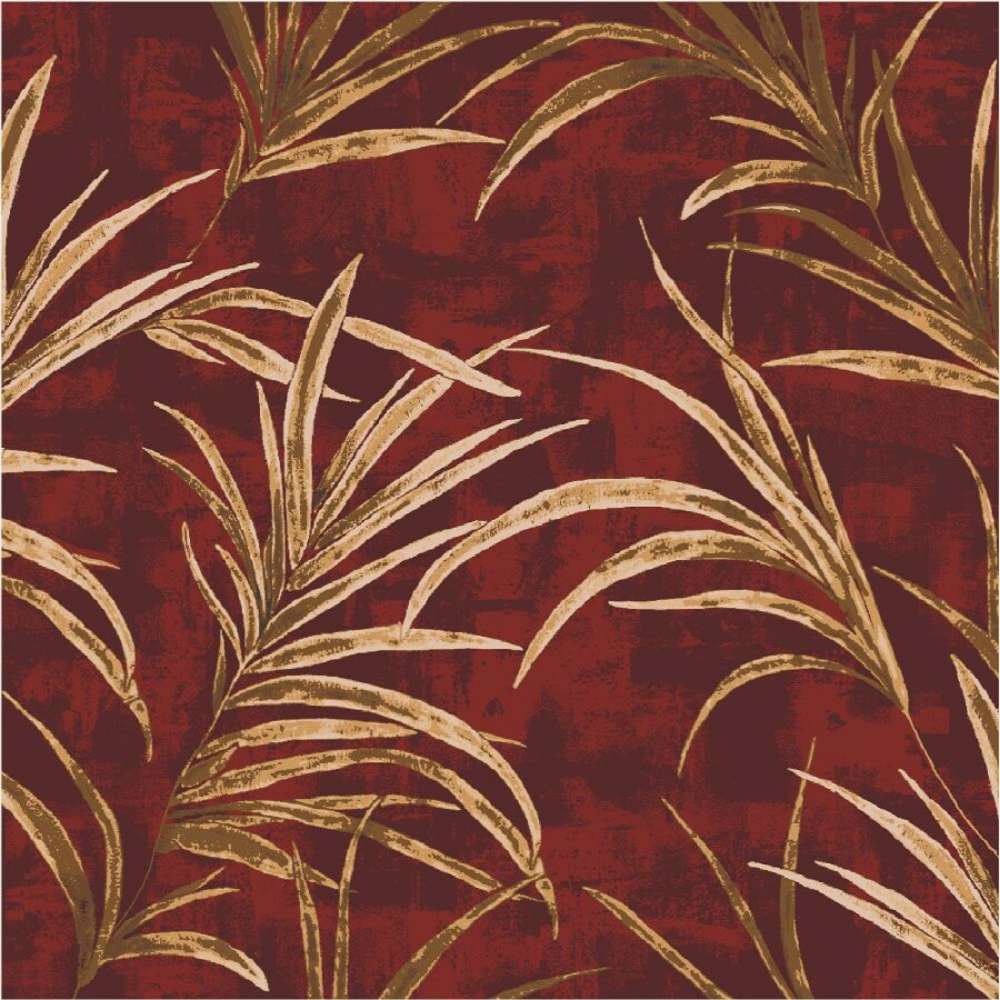 Milliken Rain Forest Square Red Floral Tufted Area Rug (Common: 8-ft x 8-ft; Actual: 7.58-ft x 7.58-ft)