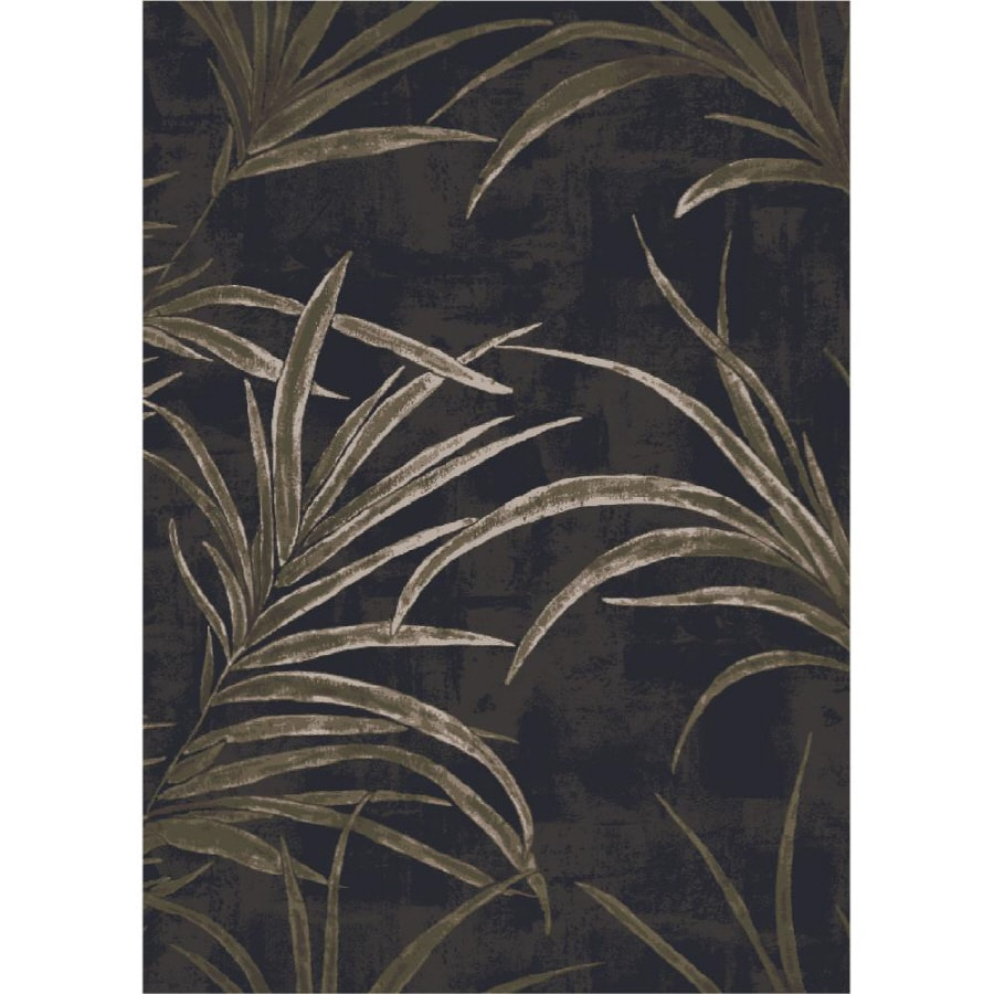 Milliken Rain Forest Rectangular Black Floral Tufted Area Rug (Common: 8-ft x 10-ft; Actual: 7.66-ft x 10.75-ft)