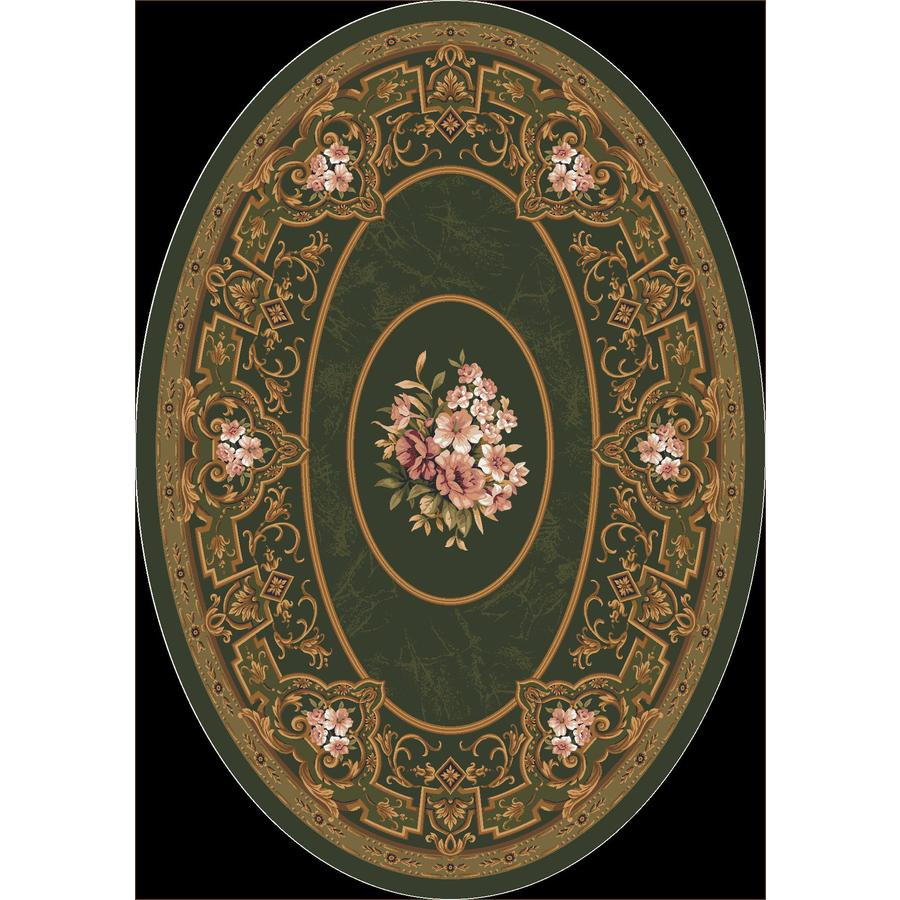 Milliken Montfluer Oval Green Floral Tufted Area Rug (Common: 5-ft x 8-ft; Actual: 5.33-ft x 7.66-ft)