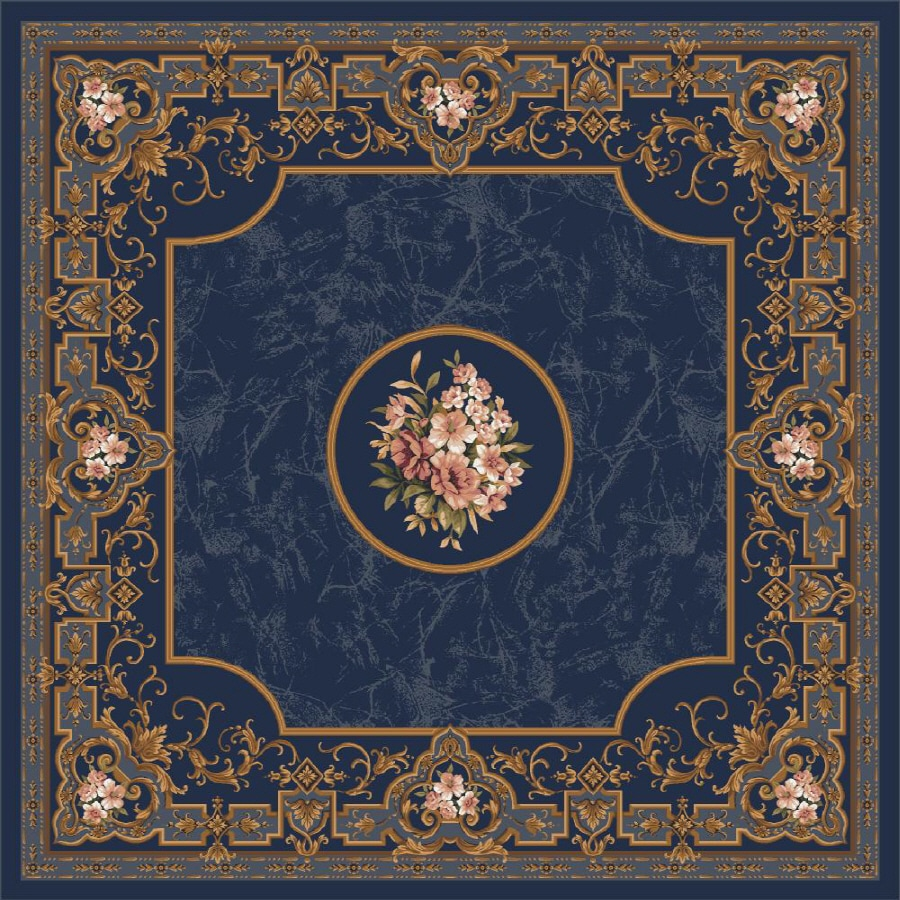 Milliken Montfluer Square Blue Floral Tufted Area Rug (Common: 8-ft x 8-ft; Actual: 7.58-ft x 7.58-ft)